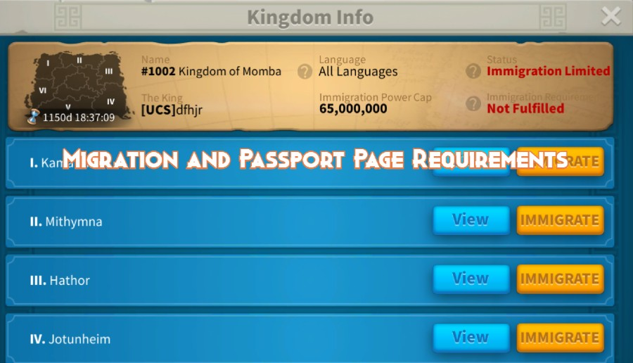 Migration and Passport Page Requirements