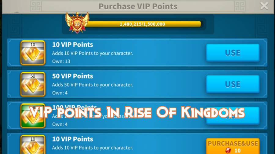 VIP points In Rise Of Kingdoms