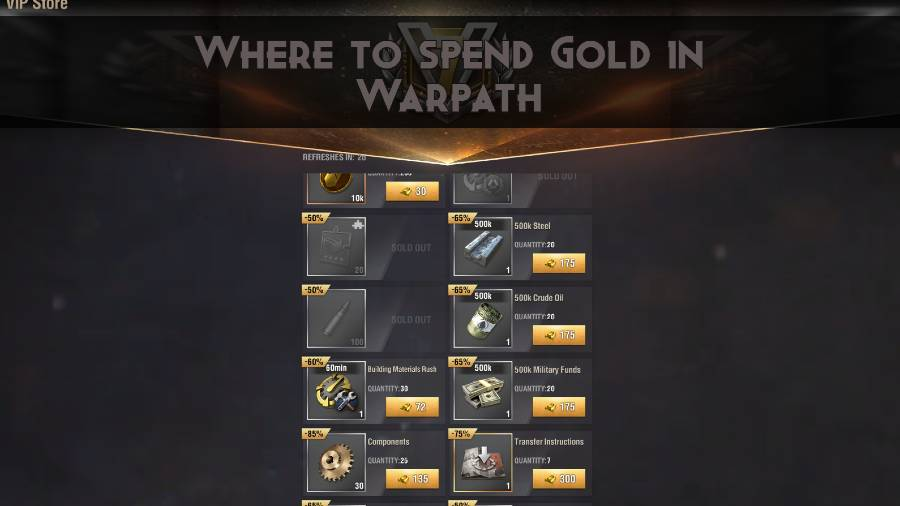 Where to spend Gold in Warpath