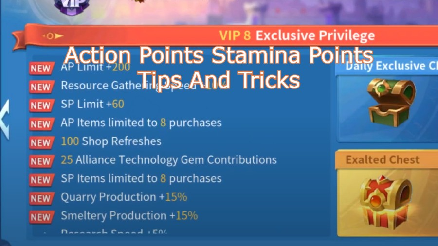 Infinity Kingdom Action Points Stamina Points Tips And Tricks