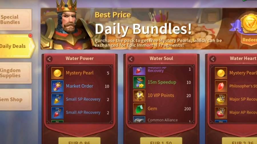 Infinity Kingdom Daily Bundles